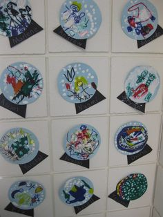 Pre-K Winter time snow globes, glitter for snowflakes/ stickers