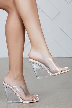 fc084a2b171 Flower Transparent Wedge Heel Sandals  SandalsHeels