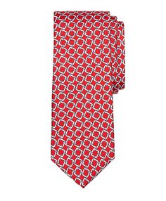 Square Link Print Tie Red