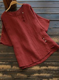 Casual styles 541628292686084098 - Roselinlin Short Sleeve Red White Pink Gray Women Tops Cotton Casual Crew Neck Daily Tops – roselinlin Source by Designer Kurtis, Kurta Designs, Blouse Designs, Gris Rose, Casual Tops For Women, Grey Women's Tops, Short Tops, Short Sleeve Blouse, Short Sleeves