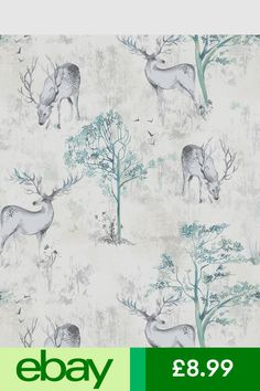 Rasch Wallpaper Rolls & Sheets Home, Furniture & DIY Stag Deer, Watercolor Trees, Rolls, Wallpaper, Nature, Diy, Furniture, Living Room, House