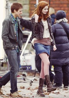 """Amy Pond + Rory Williams     Karen Gillan + Arthur Darvill     Doctor Who     Behind the scenes """"The God Complex"""""""