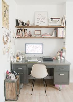 love this industrial desk in this office.