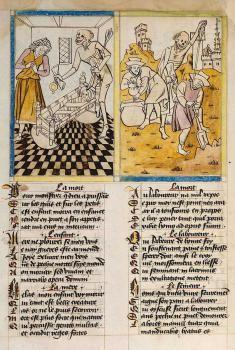 DANZA MACABRA. IMAGINES MORTIS. Mors de la Pomme, c. 1470. Esta obra inspira las xilografías que que enmarcan las Horas de Simon Vostre que, a su vez, preceden a los Simulacros de la Muerte de Holbein, 1538.