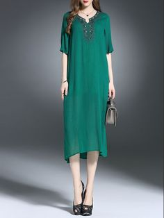 Beaded Silk Slit Midi Dress