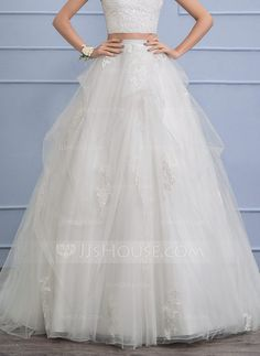 [£160.00] Separates Chapel Train Tulle Wedding Skirt With Appliques Lace Cascading Ruffles