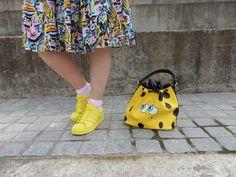 Pharrell Williams yellow superstars. SpongeBob squarepants moschino bag