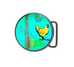 Belt buckle Disco Chicken Antiqued Silver by UniqueArtPendants