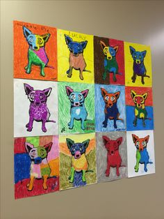 Alzheimer's Art! All completed one Blue Dog with wax pastels and then put together for a collage.