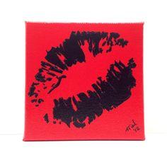 Pop Art Graffiti Kiss Lips Black on Red by GirlBurkeStudios, $20.00