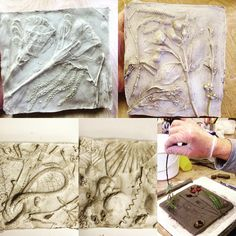 Plaster casting relief tiles on our plast casting workshop course at surrey art School in Newdigate - Dorking - come and get plastered - Art classes and workshops