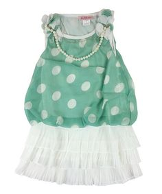 Loving this Green & White Polka Dot Tiered Dress - Girls on #zulily! #zulilyfinds