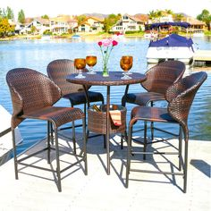 bistro outdoor wicker dining table bar set patio pool furniture christopher knight