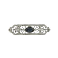 Downton Abbey Blue Sapphire Filigree Bar Brooch $20.00 http://www.vintagedancer.com/victorian/cheap-victorian-costume-jewelry/