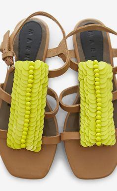 Marni Yellow And Tan Sandal