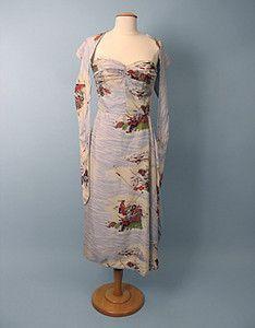Silk Print Hawaiian Dress, Mid 20th C.