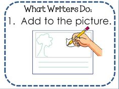 """lucy calkins free visual posters to go with """"when i'm done, i've just begun!"""" also, cute alphabet video - writer's workshop stuff Writing Lessons, Teaching Writing, Writing Activities, Writing Ideas, Writing Process, Teaching Ideas, 1st Grade Writing, Kindergarten Literacy, Writing Anchor Charts"""