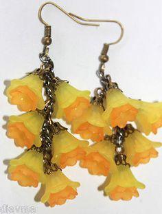 Unique flowers - Jonquil bell flower beaded EARRINGS Jewellery yellow orange in Jewellery & Watches, Handcrafted Jewellery, Earrings | eBay