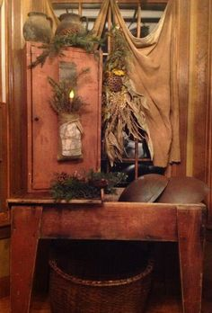 Primitive Cupboard...with needful things & Christmas pine.