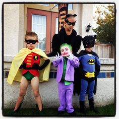 My cousin's kids with their Batman themed Halloween costumes.