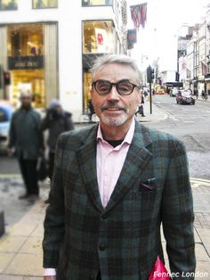 Elegant and #dapper Pierre, works in #fashion and #food in #Japan, from #France, is wearing a fun #vintage #tartan #pocketsquare whilst #art spotting in #London. #dandy #gentleman #menstyle #fashionmen  #menswear #streetstyle #realpeople #style #styling #tuesday #trend #luxury #luxurystyle #styleinspiration #chic #elegance #businessman #glasses #pink #advancedstyle