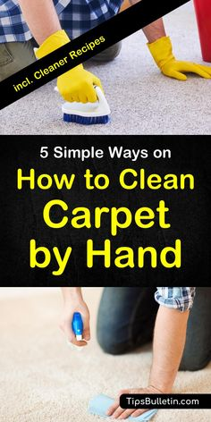Find out how to best clean carpet by hand. Including homemade DIY carpet stain cleaner recipes with baking soda and vinegar. Shows how to remove stains from area rugs in living rooms by hand and what products best to use for it. #carpetcleaning #cleaner #carpet #DIY