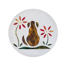 """Dark Brown Brindle Dog with Red Flowers Stained Glass Stepping Stone Big 18""""…"""
