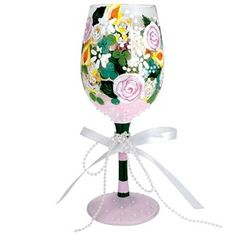 Bridal Bouqet Wedding Wine Glass by Lolita