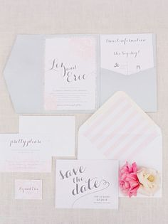 This pale pink and silver invitation suite features a sparkly border and a lined envelope in dreamy diagonal stripes.  It's just enough lighthearted fun!   See more spring #wedding invitations here: http://www.mywedding.com/articles/spring-wedding-invitations/