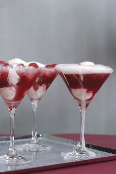 Raspberries, champagne and ice cream.