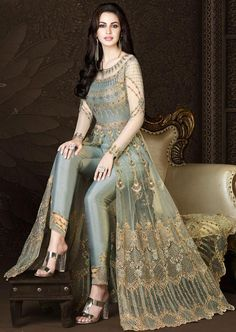 You Will Definitely Earn Lots Of Compliments Wearing This Heavy Designer Floor Length Suit In Grey Color Paired With Grey Colored Bottom And Its Rich Color And Is Making The Suit Attractive. Party Wear Indian Dresses, Designer Party Wear Dresses, Indian Gowns Dresses, Indian Fashion Dresses, Kurti Designs Party Wear, Dress Indian Style, Indian Designer Outfits, Pakistani Dresses, Indian Outfits