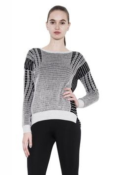 Abby Drop Shoulder White Combo One Grey Day Knit Sweater Wool Boat Neck-L #fashion #women #style #cardigan #sweater #shirts #onegreyday