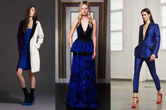 Royal blue – a punchy blue fit for a queen From left to right: Fausto Puglisi, Emilio Pucci and Antonio Berardi pre-fall 2014