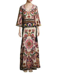 Paisley+Cutout-Back+Bell-Sleeve+Gown,+Ivory/Black/Bright+Multicolor+by+Etro+at+Neiman+Marcus.