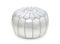 Silver Moroccan Pouf Ottoman - could absolutely find something similar in the $70-$100 range!