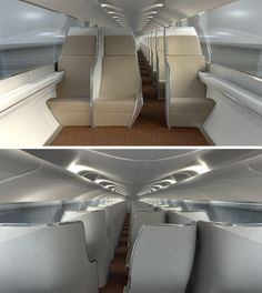 Renderings of the cabin interiors of the Hyperloop transport compartments