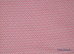 Popeline de coton motif fleur rose foncé sur rose clair : Tissus Habillement, Déco par mamamade