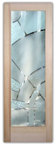 Block the view, but brighten the look with an etched glass door by Sans Soucie! Wooden Glass Door, Etched Glass Door, Glass Front Door, Sliding Glass Door, Wooden Doors, Glass Doors, Glass Etching Designs, Stained Glass Designs, Room Door Design