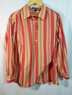 88c32c7597199 Lauren Ralph Lauren PLUS 1X Multi Color Striped 100% Cotton Tunic Top Size  1X  RALPHLAUREN  Blouse  Casual