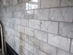 white marble shower tile gray grout - Google Search