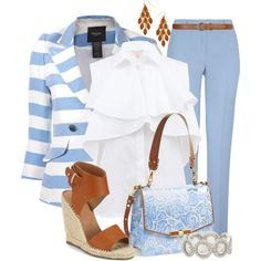 A fashion look from April 2014 featuring white shirt, blazer jacket and blue pants. Fresh Outfits, Cute Casual Outfits, Dressy Pants, Simply Fashion, Capsule Outfits, Professional Dresses, Team Apparel, Business Outfits, Office Fashion