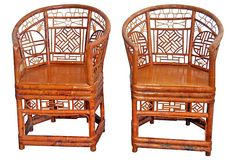"""1970s Chinese Bamboo Chairs,  Pair on OneKingsLane.com described by Theodora Antiques Pair of 1970s barrel-back Chinese bamboo chairs. Seat, 19""""H."""
