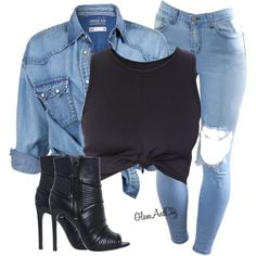 A fashion look from July 2015 featuring blue denim shirt, knot crop top and black open toe booties. Browse and shop related looks. Swag Outfits, Classy Outfits, Stylish Outfits, Fall Outfits, Denim Fashion, Fashion Outfits, Womens Fashion, Everyday Outfits, Everyday Fashion