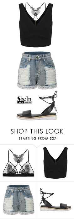 """""""SheIn Beautiful Made Simple (Black V Neck Top)"""" by artbymiyon ❤ liked on Polyvore featuring Fleur of England, LE3NO and Rebecca Minkoff"""