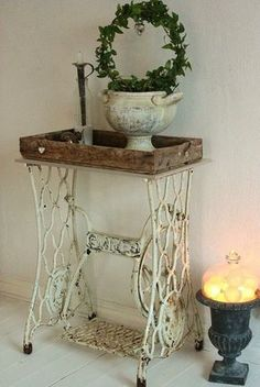 "Singer ""side table"" #makeover, #table, #vintage"