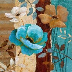 Pictures To Paint, Flower Art, Small Canvas, Canvas Art, Teal Art, Acrylic Flowers, Decoupage Paper, Paintings I Love, Fabric Painting