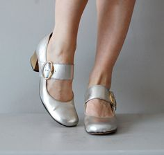 1960s shoes / mary janes / Metallic Janes by DearGolden on Etsy
