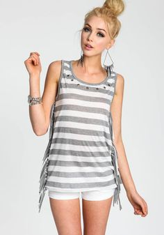 Studded Stripe Top with Fringe Detail, HEATHER GREY, large