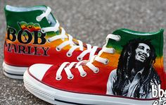 Painted Canvas Shoes, Painted Sneakers, Hand Painted Shoes, Bob Marley Shoes, Bob Marley T Shirts, Make Your Own Converse, Converse Shoes, Custom Converse, Converse Chuck