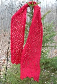 Cranberry Sauce Lace Scarf - Knitting Patterns by Melody Hadley